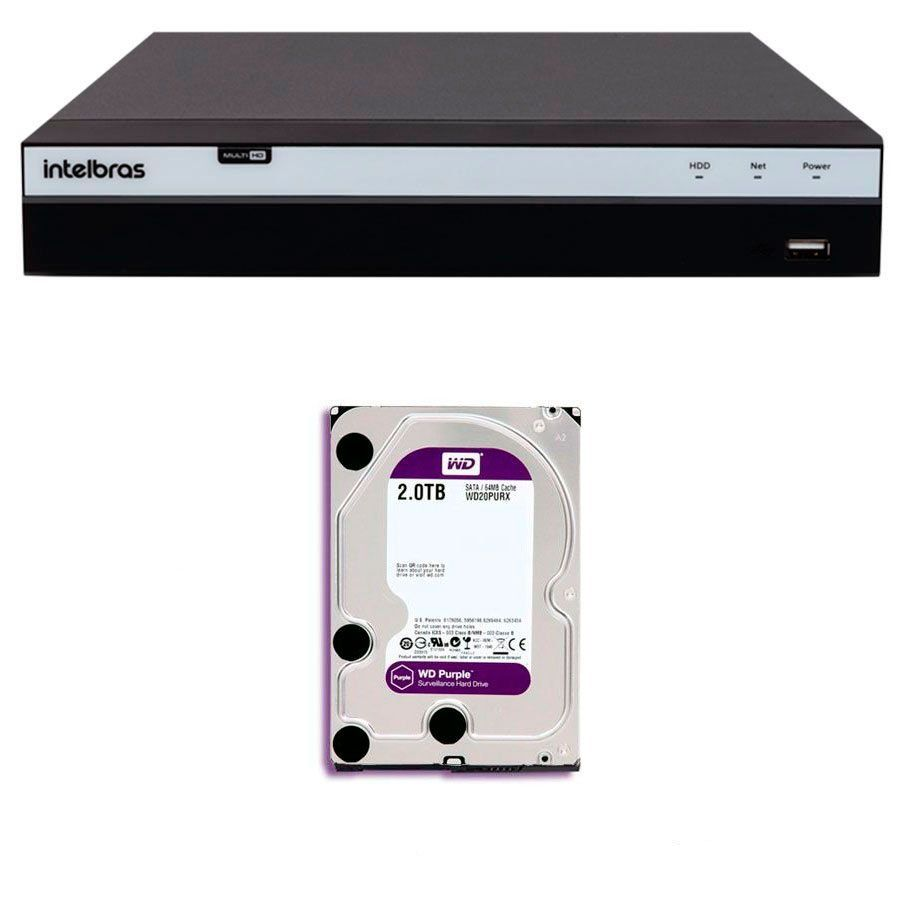DVR Stand Alone Intelbras MHDX 3108 08 Canais Full HD 1080p Multi HD + 04 Canais IP 5 Mp + HD WD Purple 2TB