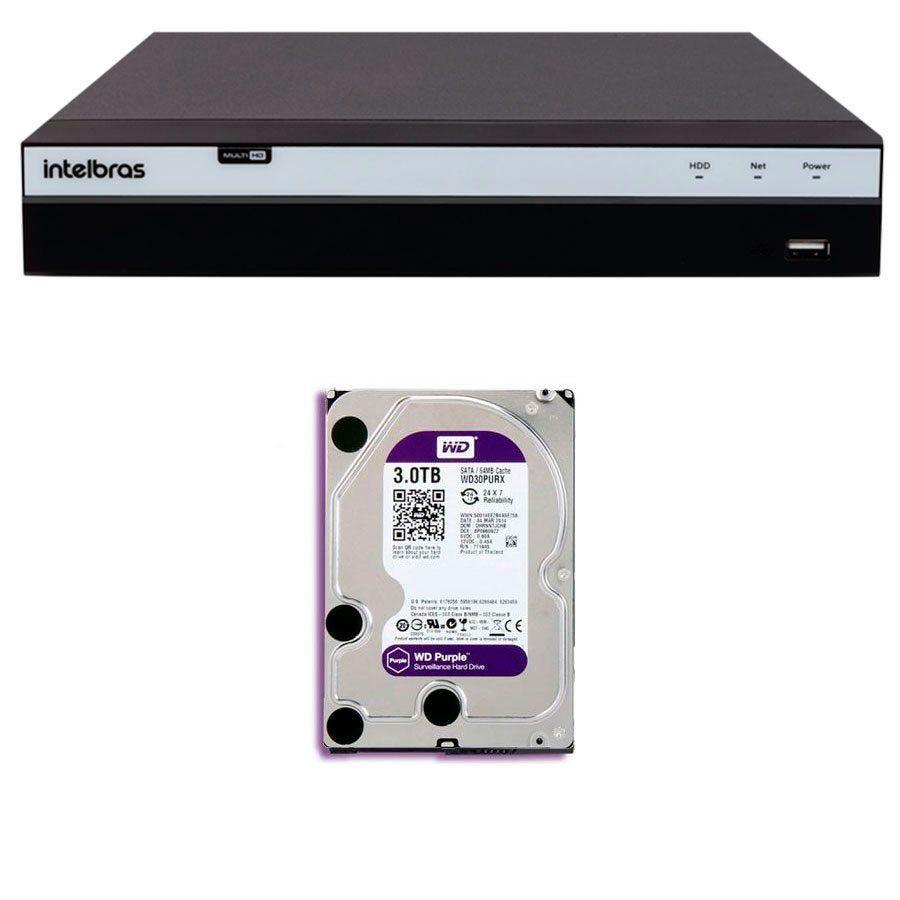 DVR Stand Alone Intelbras MHDX 3116 16 Canais Full HD 1080p Multi HD + 08 Canais IP 5 Mp + HD WD Purple 3TB  - Tudo Forte