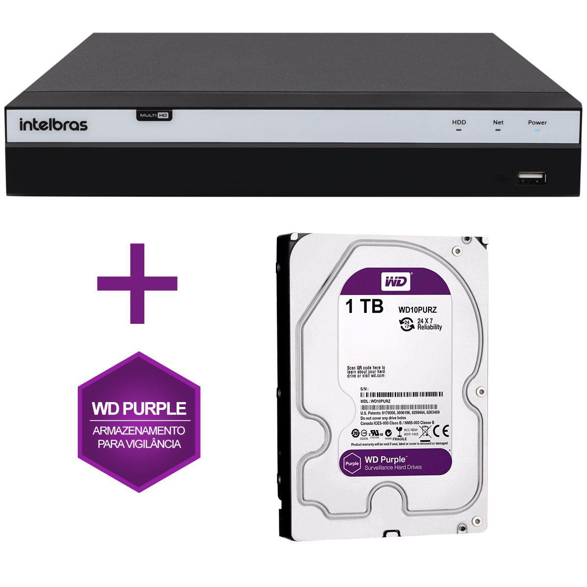 DVR Stand Alone Intelbras MHDX 3116 16 Canais Full HD 1080p Multi HD + 08 Canais IP 5 Mp + HD WD Purple 1TB  - Tudo Forte