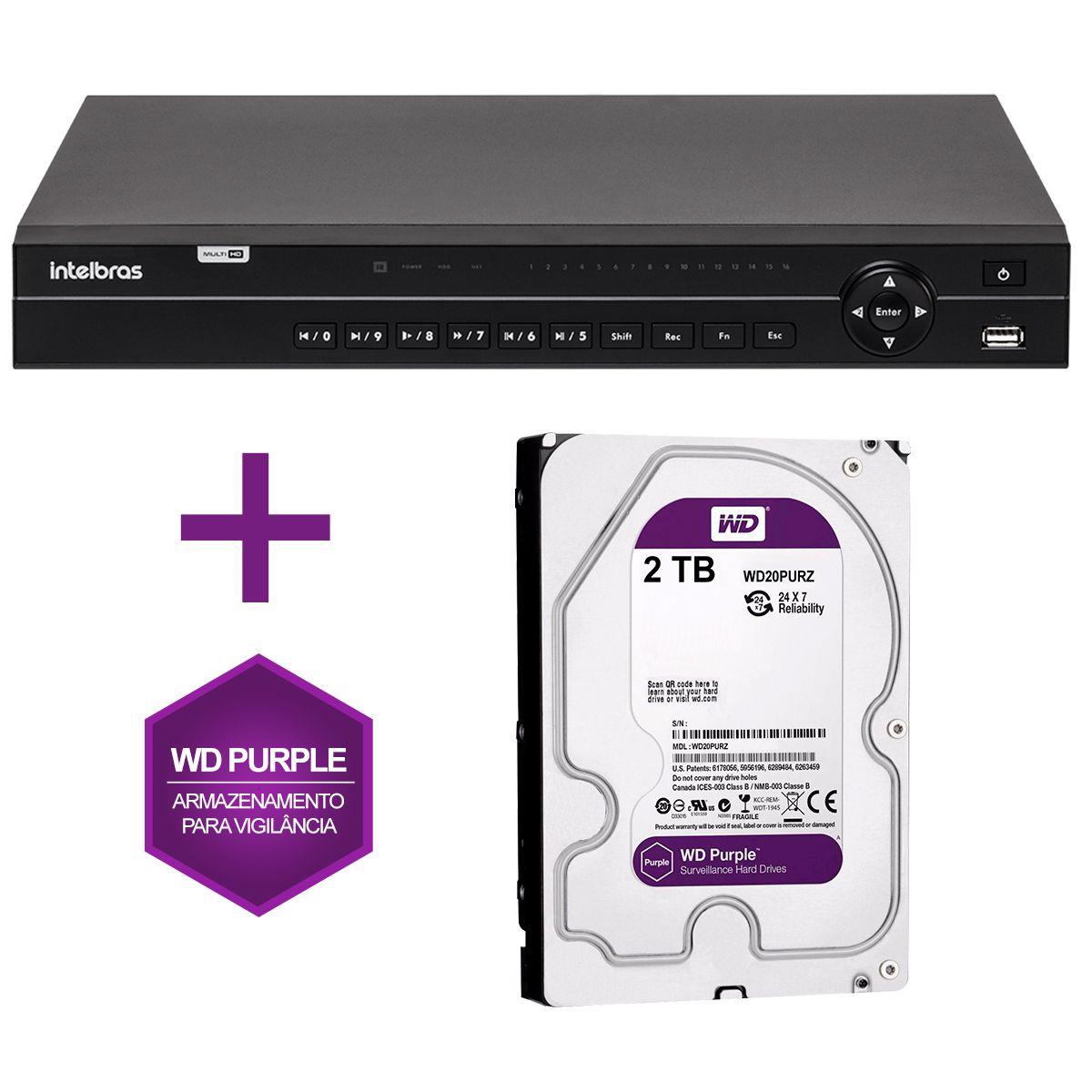 DVR Stand Alone Multi HD Intelbras 1032 32 Canais + HD 2TB WD Purple de CFTV (Não instalado)  - Tudo Forte