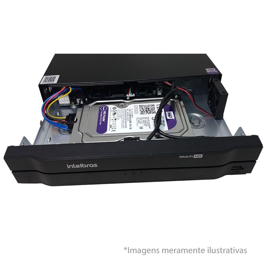 DVR Stand Alone Multi HD Intelbras MHDX-1004 4 Canais com HD 1TB WD Purple de CFTV Instalado de Fábrica  - Tudo Forte