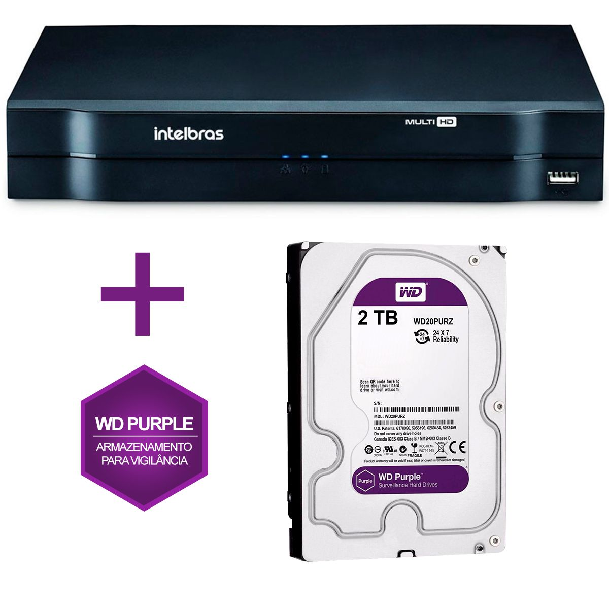 DVR Stand Alone Multi HD Intelbras MHDX-1008 08 Canais + HD 2TB WD Purple de CFTV  - Tudo Forte