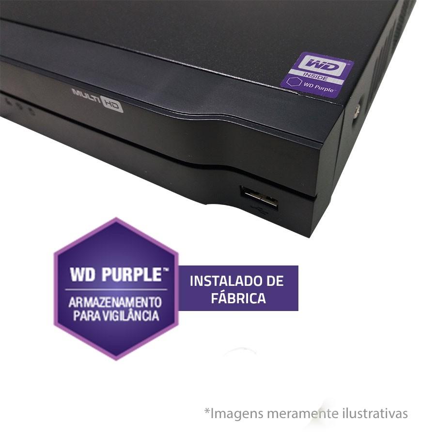 DVR Stand Alone Multi HD Intelbras MHDX-1008 8 Canais com HD 1TB WD Purple de CFTV Instalado de Fábrica  - Tudo Forte