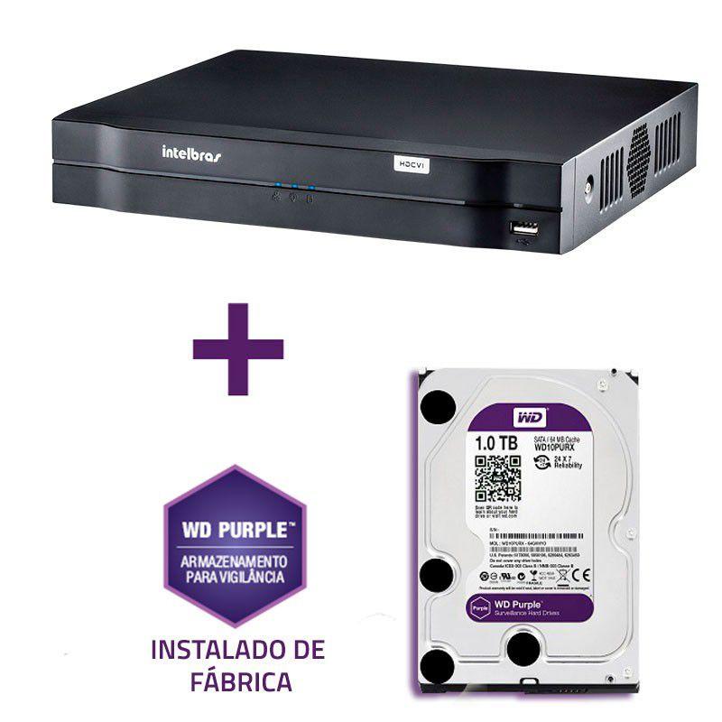 DVR Stand Alone Multi HD Intelbras MHDX-1016 16 Canais com HD 1TB WD Purple de CFTV Instalado de Fábrica