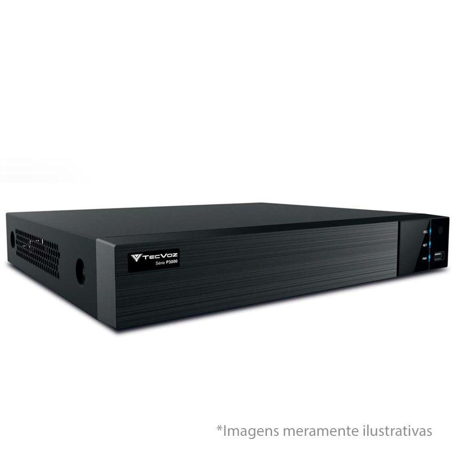 DVR Stand Alone  Tecvoz TW P3008 08 Ch 1080P  Flex 5 em 1 - HD-TVI / HDCVI / AHD / CVBS / IP  - Tudo Forte