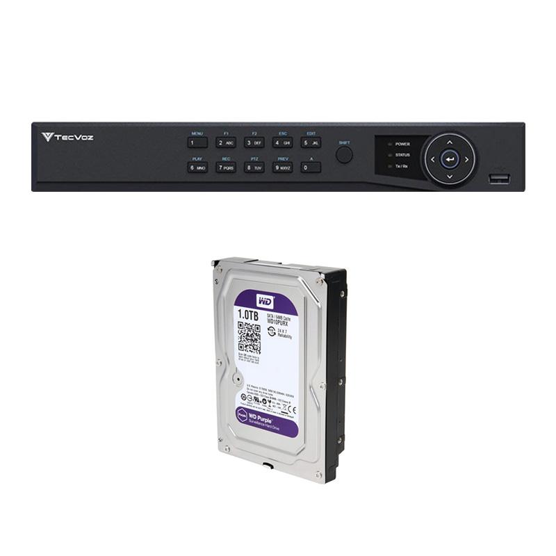 DVR Stand Alone Tríbrido HDTVI Tecvoz T1-STVI04/S 4 Canais + HD  1TB WD Purple de CFTV