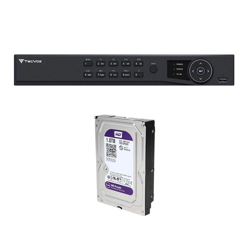 DVR Stand Alone Tríbrido HDTVI Tecvoz T1-STVI04/S 4 Canais + HD  1TB WD Purple de CFTV  - Tudo Forte