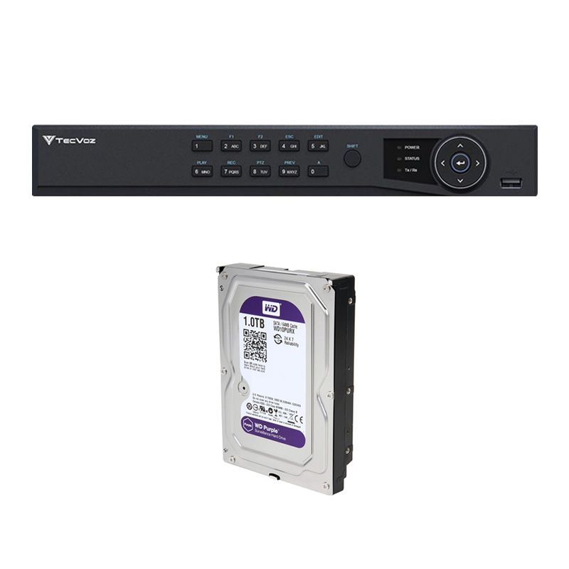 DVR Stand Alone Tríbrido HDTVI Tecvoz T1-STVI16/S 16 Canais + HD 1TB WD Purple de CFTV  - Tudo Forte