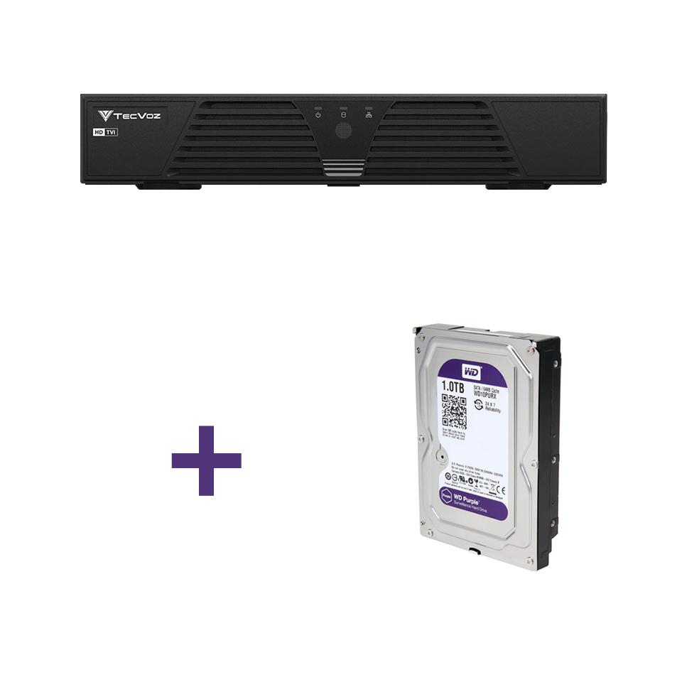 DVR Stand Alone Tríbrido Tecvoz HDTVI T1-LTVI04 04 CANAIS + HD 1 TB WD Purple de CFTV