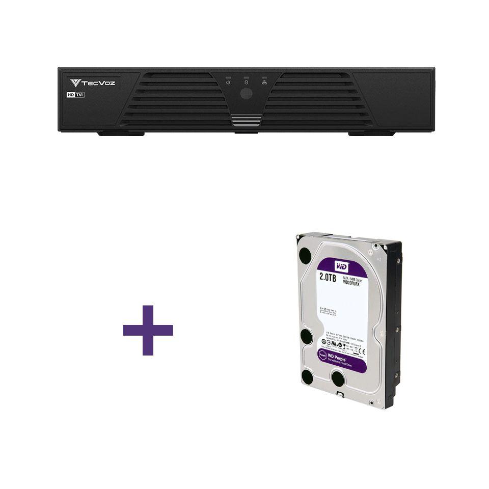 DVR Stand Alone Tríbrido Tecvoz HDTVI T1-LTVI16 + HD 2TB WD Purple de CFTV  - Tudo Forte