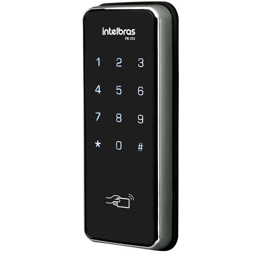 Fechadura Eletrônica Digital Sobrepor Intelbras FR 201, Acesso por Senha ou Cartão Proximidade  - Tudo Forte