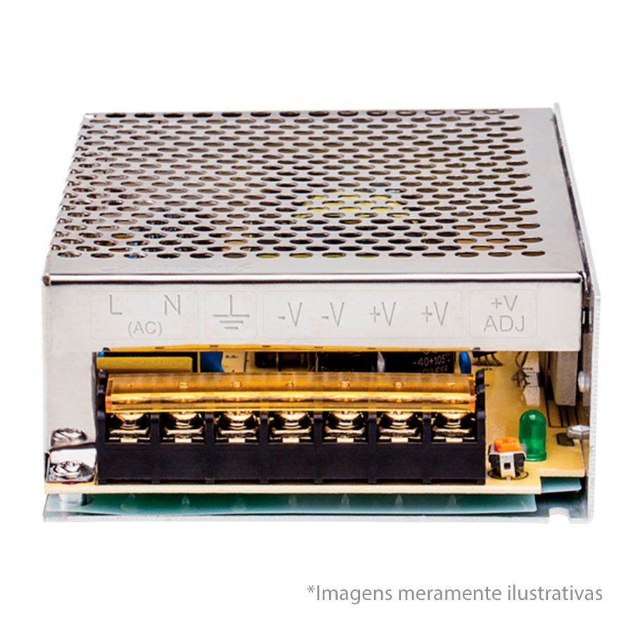 Fonte de Alimentação Metálica Tipo Colméia Intelbras EFM 1210 Bivolt 12V 10A  - Tudo Forte