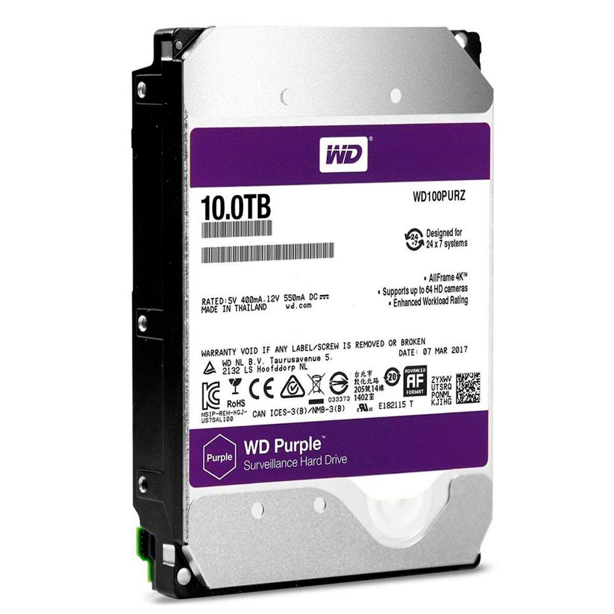 HD Interno WD Purple 10TB Surveillance SATA III 6GB/s 5400 RPM WD100PURZ  - Tudo Forte