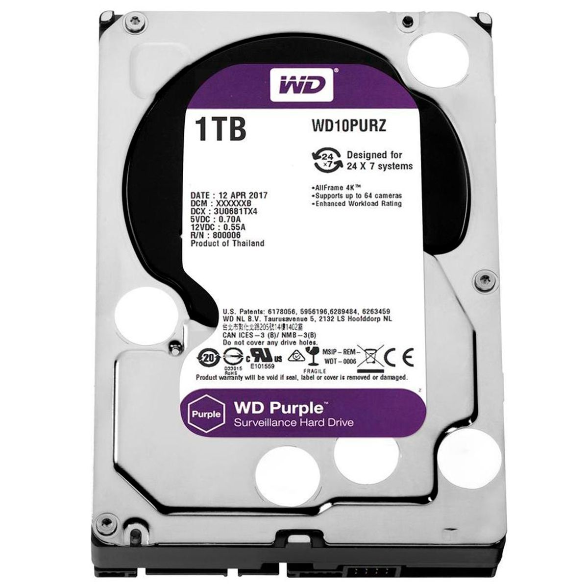 HD Interno WD Purple 1TB Surveillance SATA III 6GB/s 5400 RPM WD10PURZ  - Tudo Forte