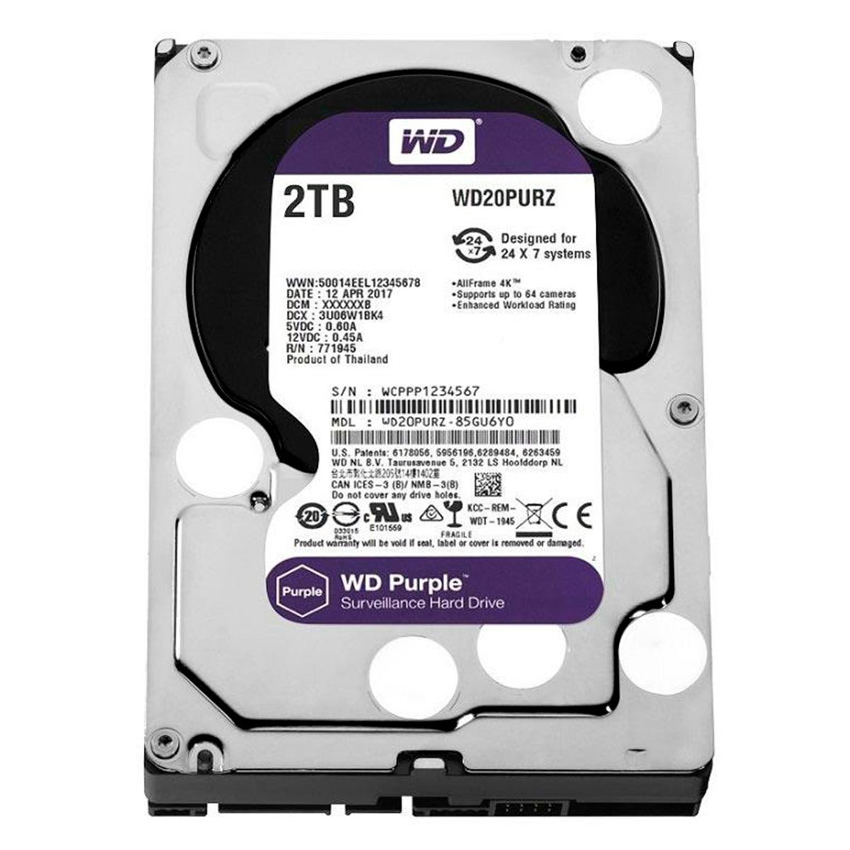 HD Interno WD Purple 2TB Surveillance SATA III 6GB/s 5400 RPM WD20PURZ  - Tudo Forte