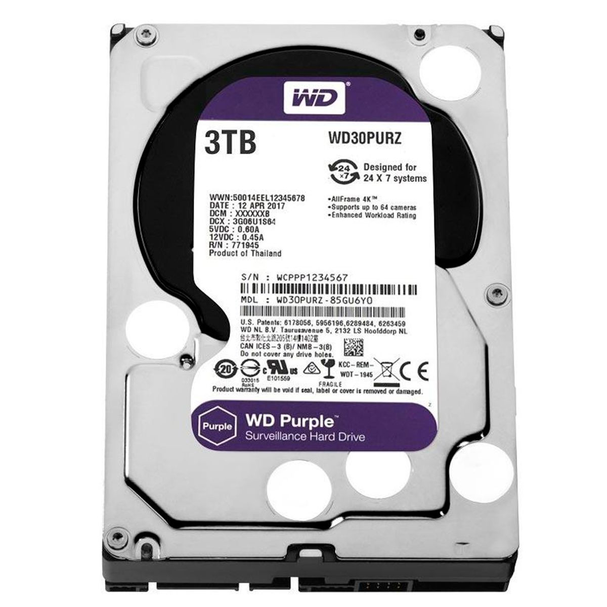 HD Interno WD Purple 3TB Surveillance SATA III 6GB/s 5400 RPM WD30PURZ  - Tudo Forte