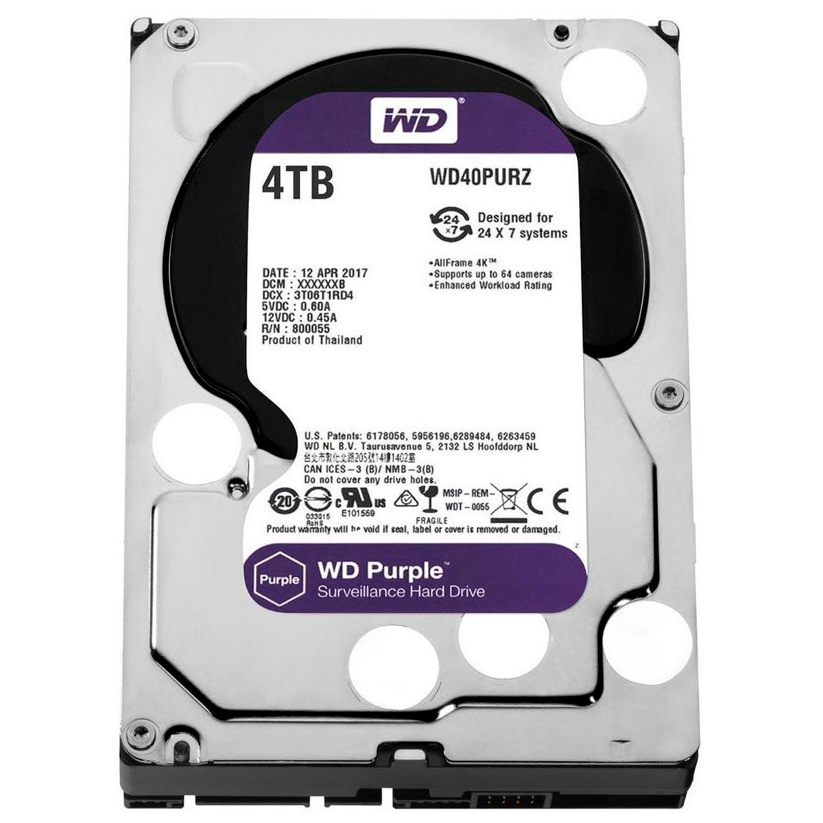 HD Interno WD Purple 4TB SATA III 6GB/s 5400 RPM WD40PURZ  - Tudo Forte