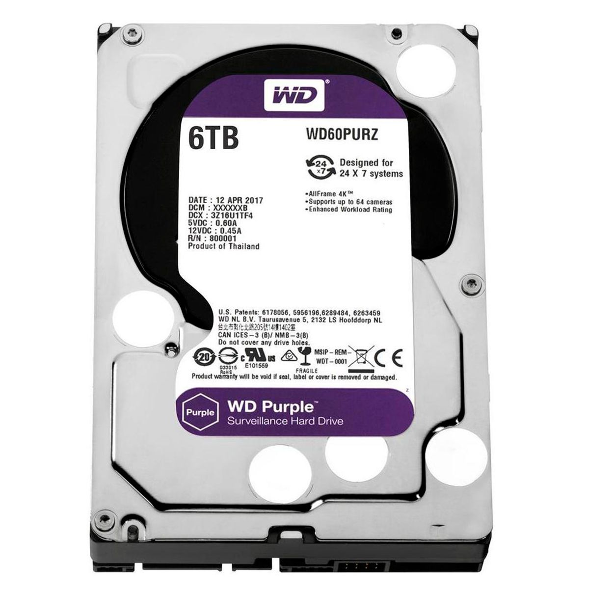 HD Interno WD Purple 6TB Surveillance SATA III 6GB/s 5400 RPM WD60PURZ  - Tudo Forte