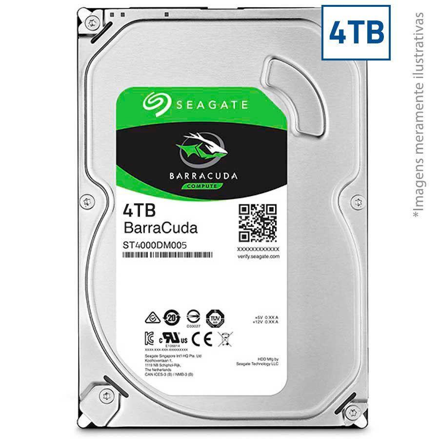 HD Seagate SATA 3,5´ BarraCuda 4TB 5400RPM 256MB Cache SATA 6Gb/s - ST4000DM004  - Tudo Forte