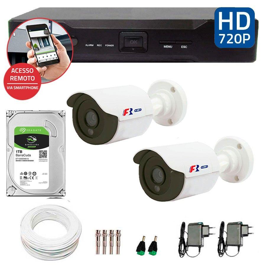 Kit 02 Câmeras de Segurança Bullet HD 720p Focusbras + DVR Focusbras + HD para Gravação 1TB + Acessórios