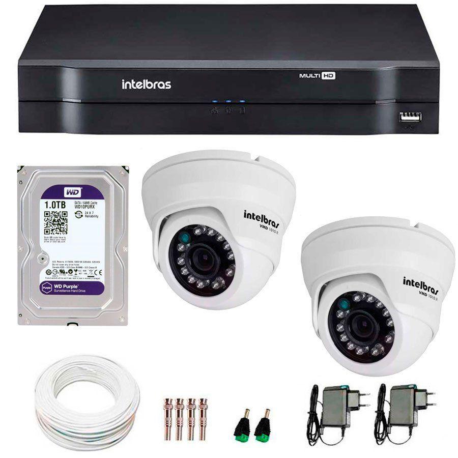 Kit 02 Câmeras de Segurança Dome HD 720p Intelbras VMD 1010 G4 + HD para Gravação 1TB + DVR Intelbras Multi HD + Acessórios