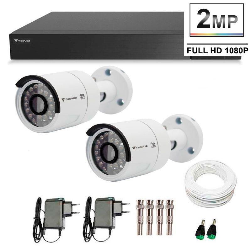 Kit 02 Câmeras de Segurança Full HD 1080p Tecvoz QCB-236 + DVR Tecvoz Flex Full HD + Acessórios  - Tudo Forte