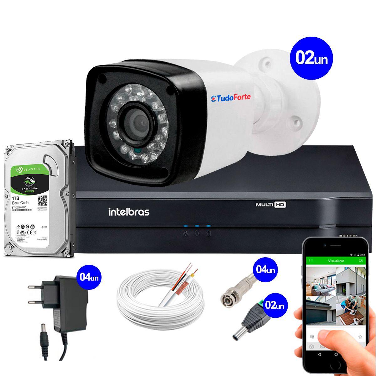 Kit 2 Câmeras + DVR Intelbras + HD 1 TB + App de Monitoramento, Câmeras HD 720p 20m Infravermelho de Visão Noturna + Fonte, Cabos e Acessórios  - Tudo Forte