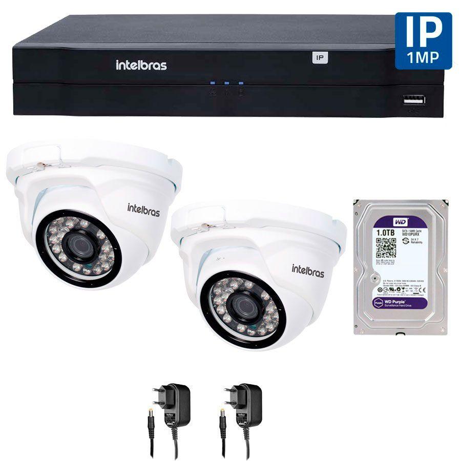 Kit 02 Câmeras de Segurança IP 1Mp HD 720p Intelbras VIP 1120 D + NVD 1108 Intelbras, NVR, HVR + HD WD Purple 1TB