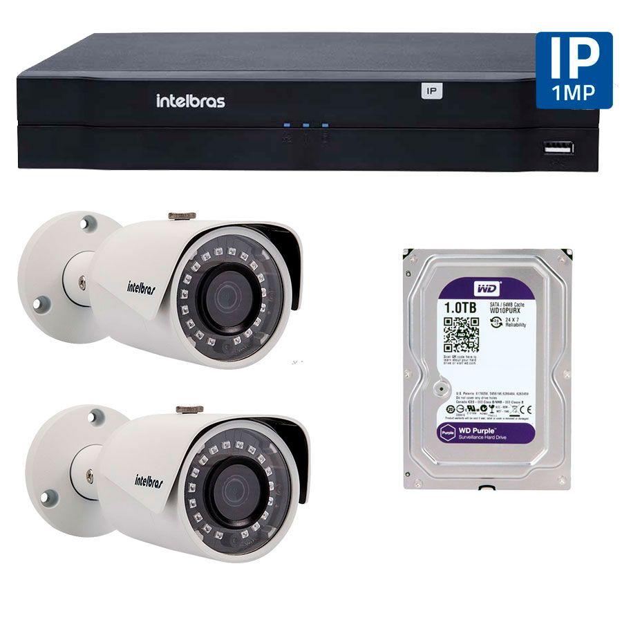 Kit 02 Câmeras de Segurança IP 1Mp HD 720p Intelbras VIP S 3020 G2 + NVD 1108 Intelbras, NVR, HVR + HD WD Purple 1TB