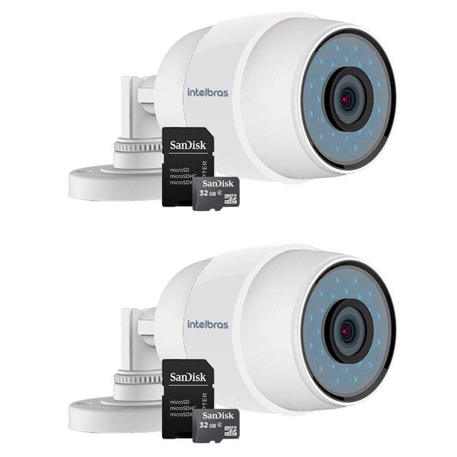 Kit 02 Câmeras Wifi iC5 Intelbras Sem Fio Mibo IP 66 + Cartão de memória 32Gb