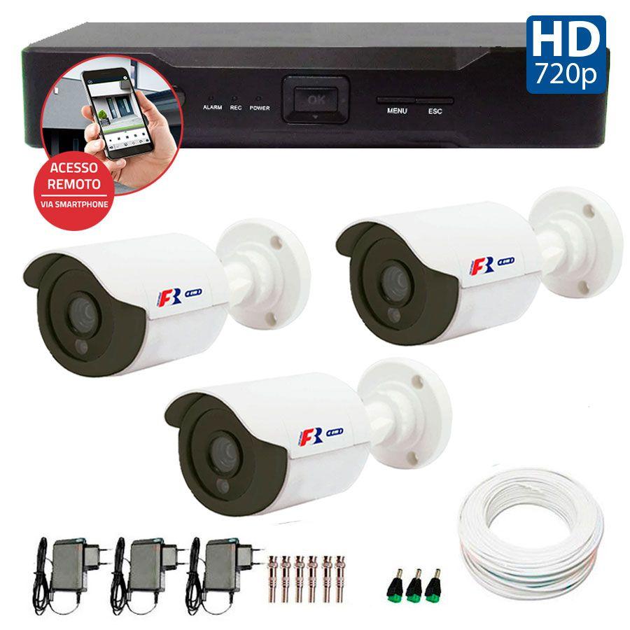 Kit 03 Câmeras de Segurança Bullet HD 720p Focusbras + DVR Focusbras + Acessórios