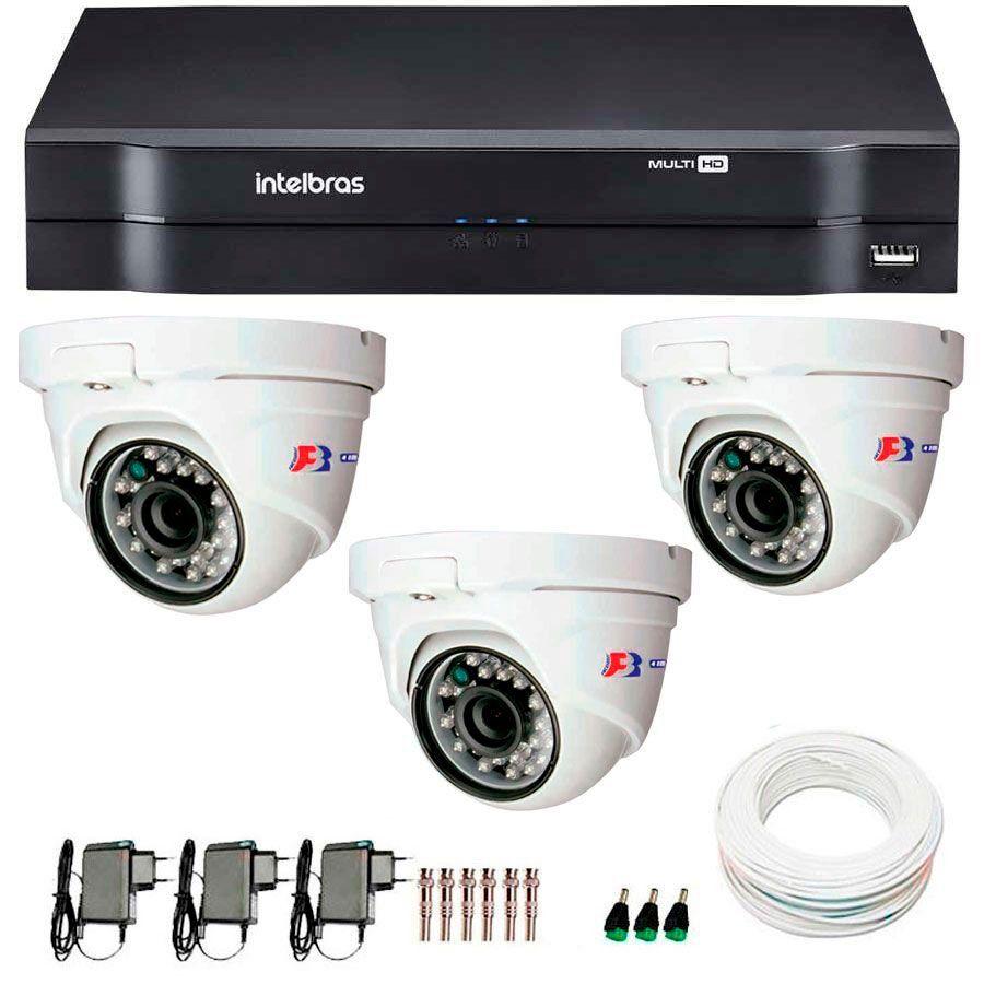 Kit 03 Câmeras de Segurança Dome HD 720p Focusbras + DVR Intelbras Multi HD + Acessórios