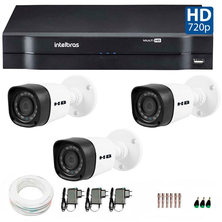 Kit 03 Câmeras de Segurança HD 720p HB Tech + DVR Intelbras Multi HD + Acessórios