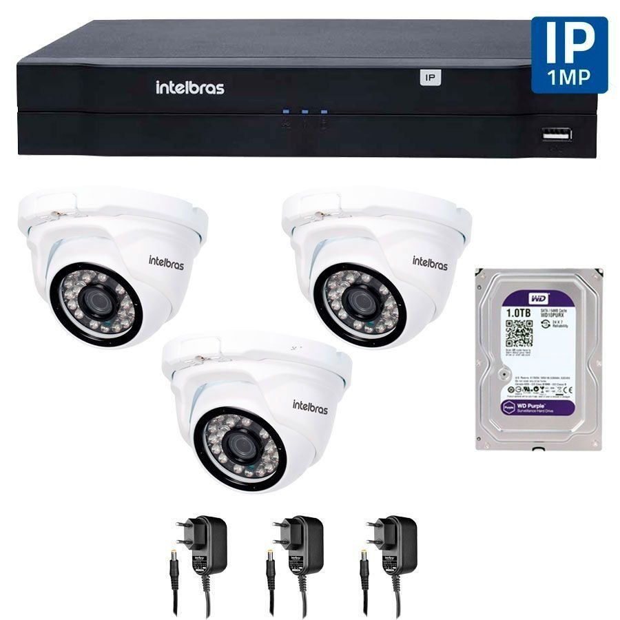 Kit 03 Câmeras de Segurança IP 1Mp HD 720p Intelbras VIP 1120 D + NVD 1108 Intelbras, NVR, HVR + HD WD Purple 1TB