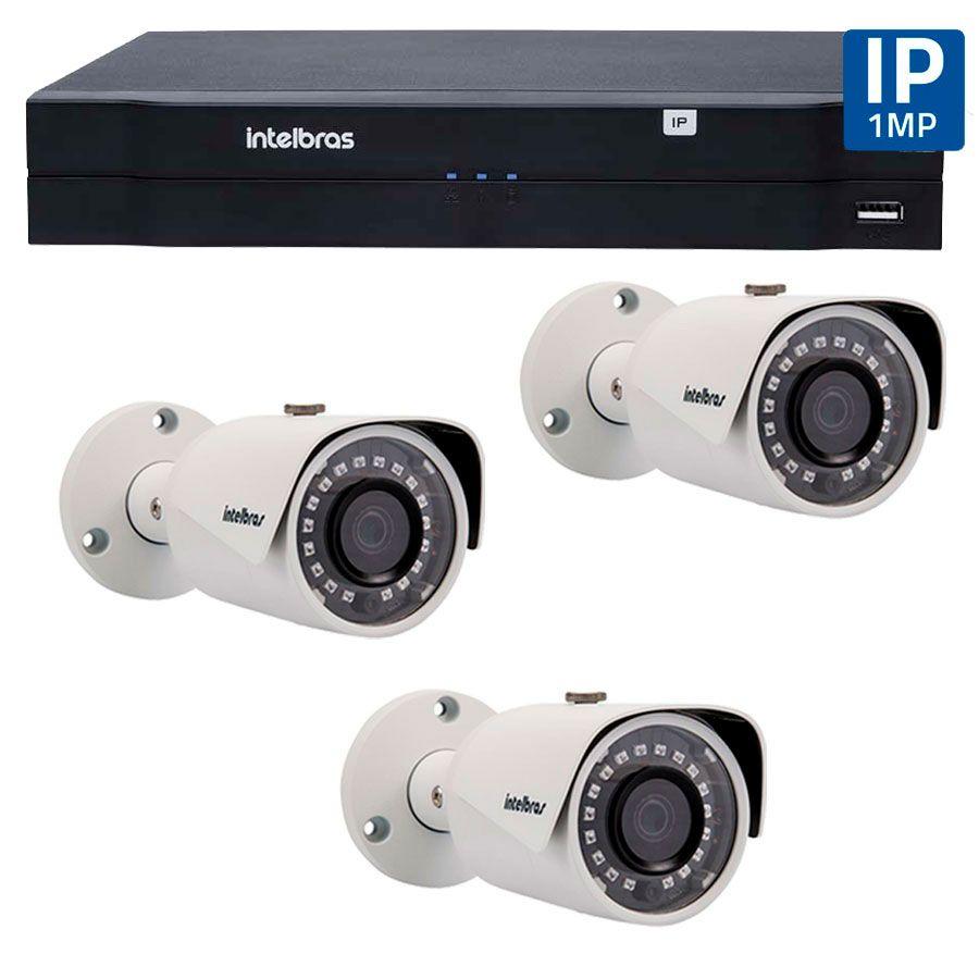 Kit 03 Câmeras de Segurança IP 1Mp HD 720p Intelbras VIP S 3020 G2 + NVD 1108 Intelbras, NVR, HVR