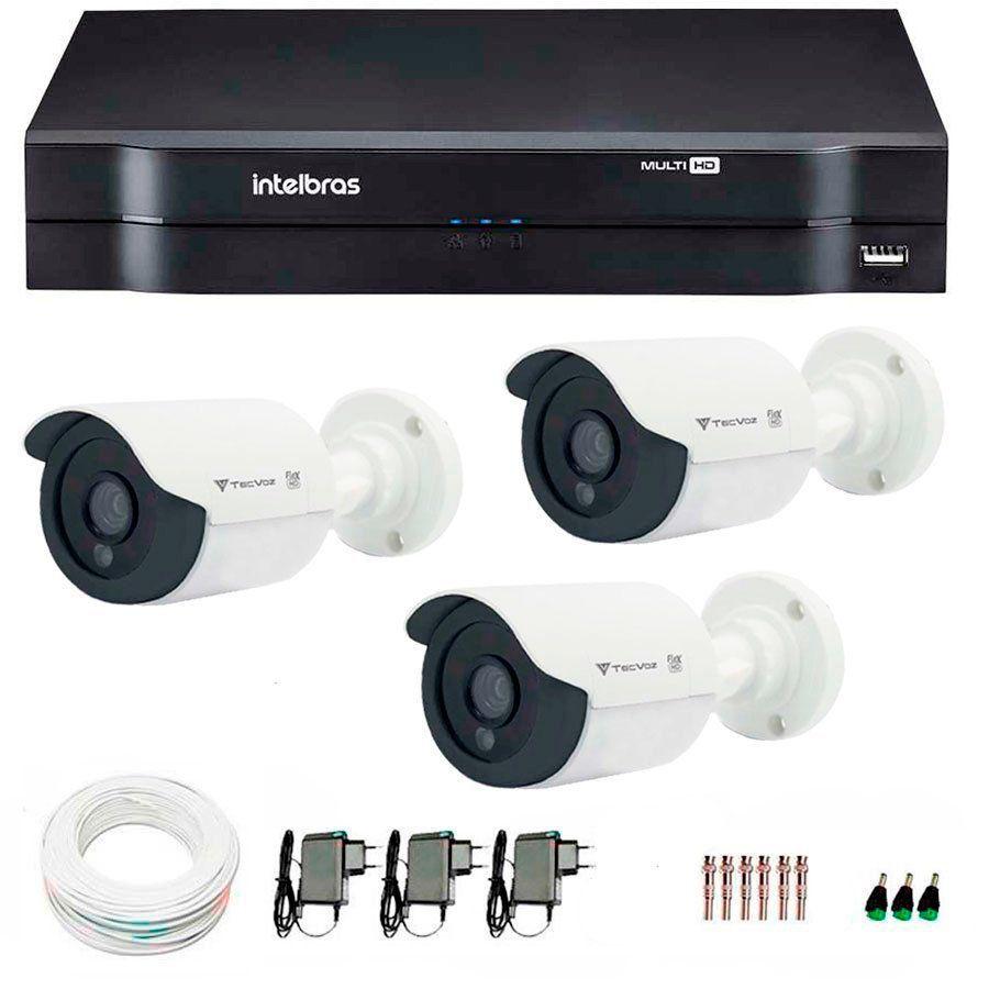 Kit 03 Câmeras de Segurança Tecvoz HD 720p CCB-128P + DVR Intelbras Multi HD + Acessórios
