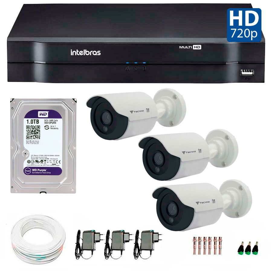 Kit 03 Câmeras de Segurança Tecvoz HD 720p CCB-128P + DVR Intelbras Multi HD + HD para Gravação + Acessórios