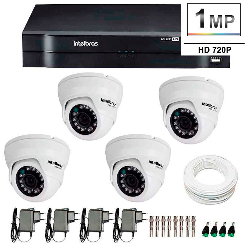 Kit 04 Câmeras de Segurança Dome HD 720p Intelbras VMH 1010 + DVR Intelbras Multi HD + Acessórios  - Tudo Forte