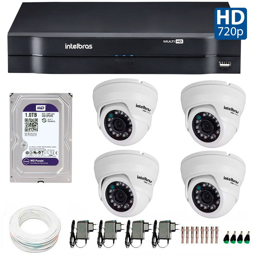 Kit 04 Câmeras de Segurança Dome HD 720p Intelbras VMH 1010 + HD para Gravação 1TB + DVR Intelbras Multi HD + Acessórios