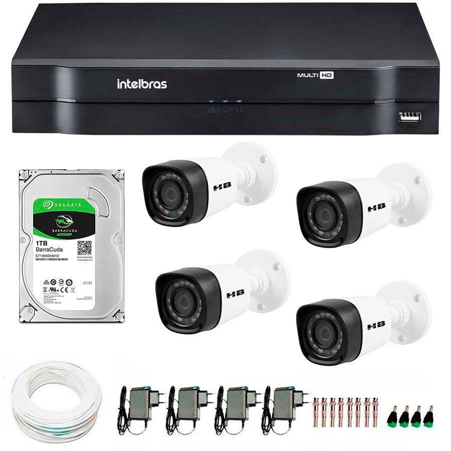 Kit 04 Câmeras de Segurança HD 720p HB Tech + DVR Intelbras Multi HD +  HD para Gravação 1TB + Acessórios