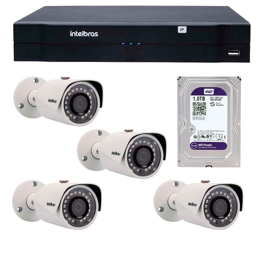 Kit 04 Câmeras de Segurança IP 1Mp HD 720p Intelbras VIP S 3020 G2 + NVD 1108 Intelbras, NVR, HVR + HD WD Purple 1TB