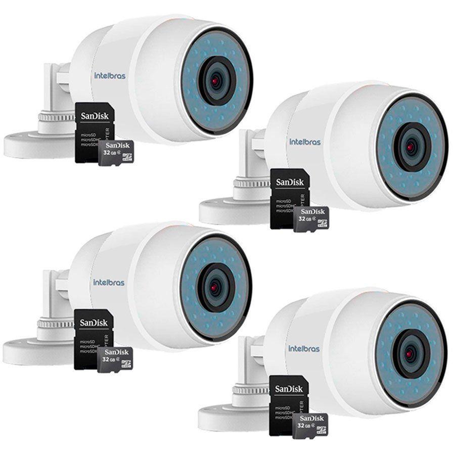 Kit 04 Câmeras Wifi iC5 Intelbras Sem Fio Mibo IP 66 + Cartão de memória 32Gb  - Tudo Forte