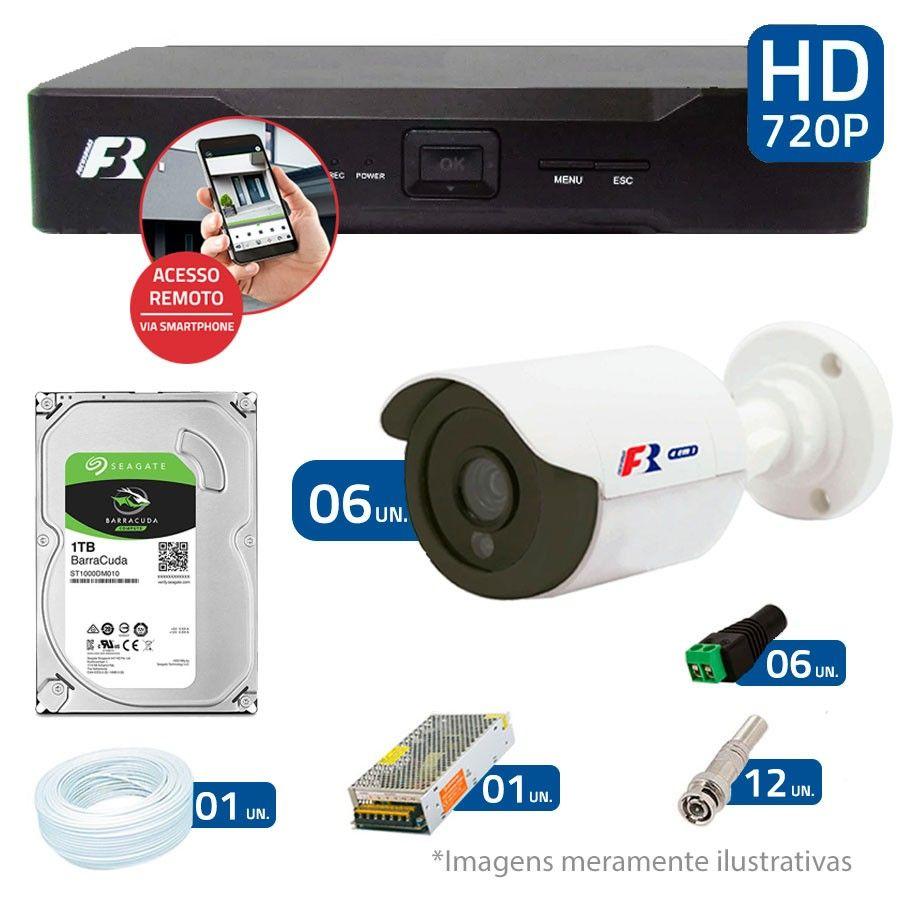 Kit 06 Câmeras de Segurança Bullet HD 720p Focusbras + DVR Focusbras + HD para Gravação 1TB + Acessórios