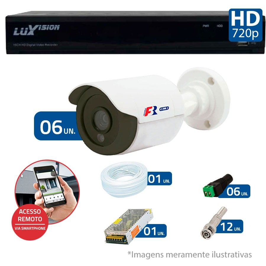 Kit 06 Câmeras de Segurança Bullet HD 720p Focusbras + DVR Luxvision All HD + Acessórios
