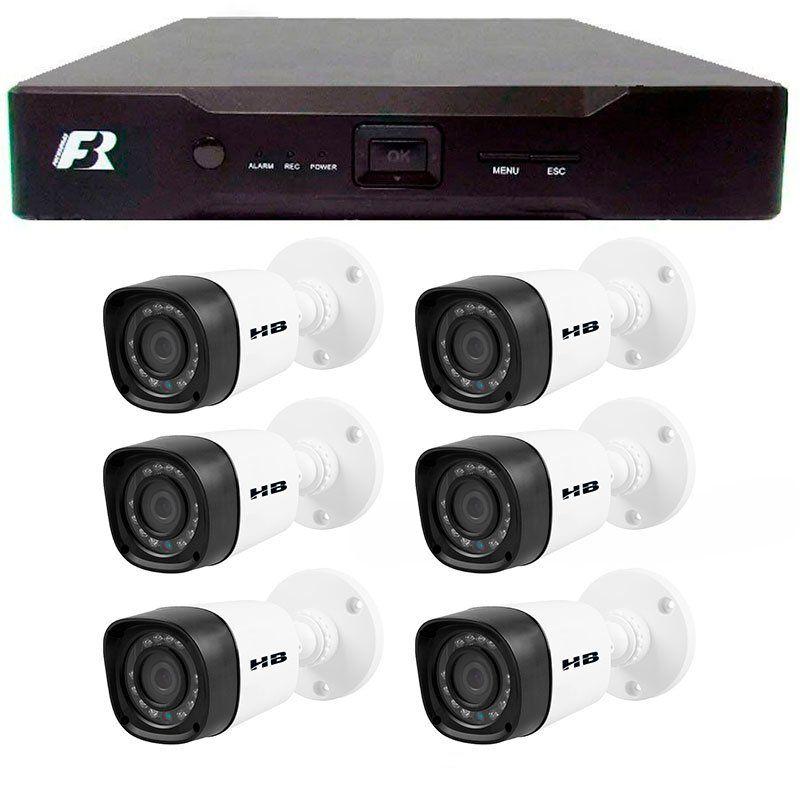 Kit 06 Câmeras de Segurança Bullet HD 720p HB Tech + DVR Focusbras + Acessórios