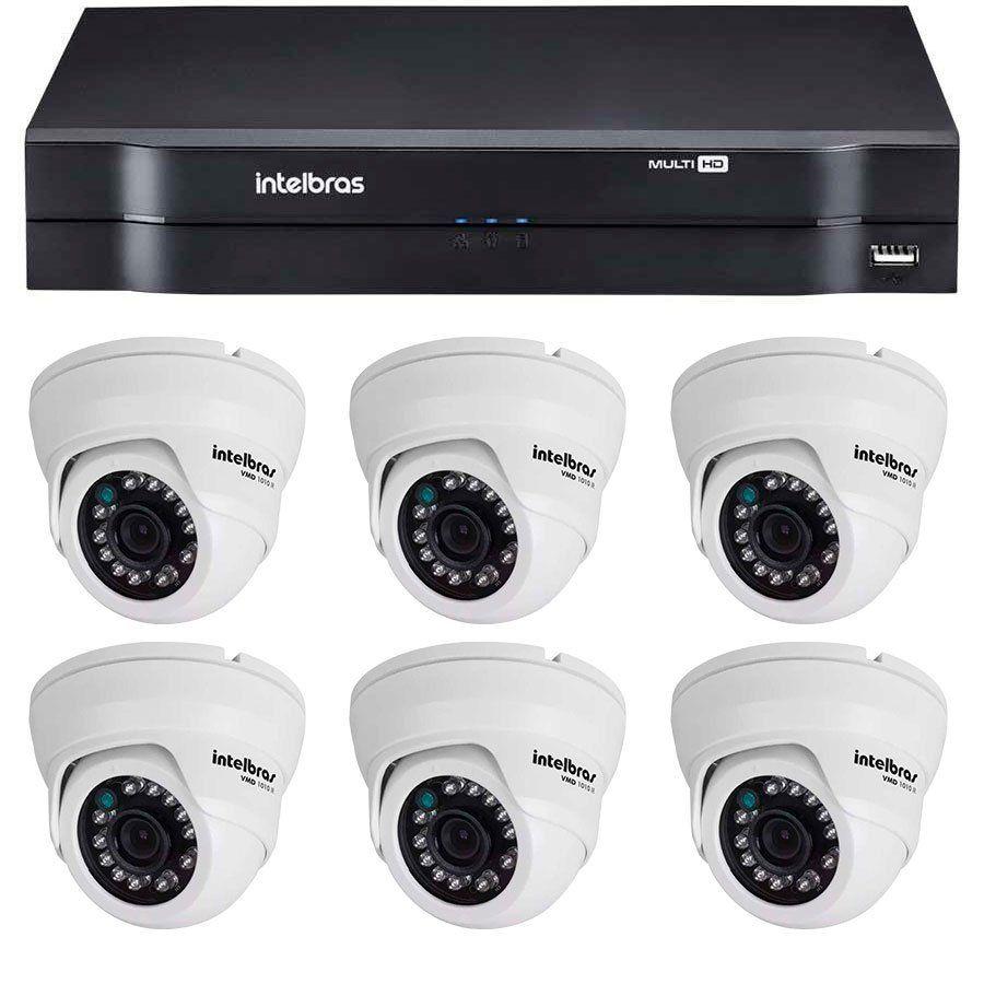 Kit 06 Câmeras de Segurança Dome HD 720p Intelbras VMD 1010 G4 + DVR Intelbras Multi HD + Acessórios