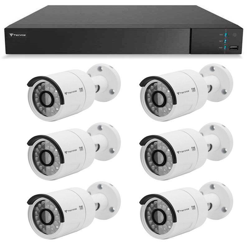 Kit 06 Câmeras de Segurança Full HD 1080p Tecvoz QCB-236 + DVR Tecvoz Flex Full HD + Acessórios