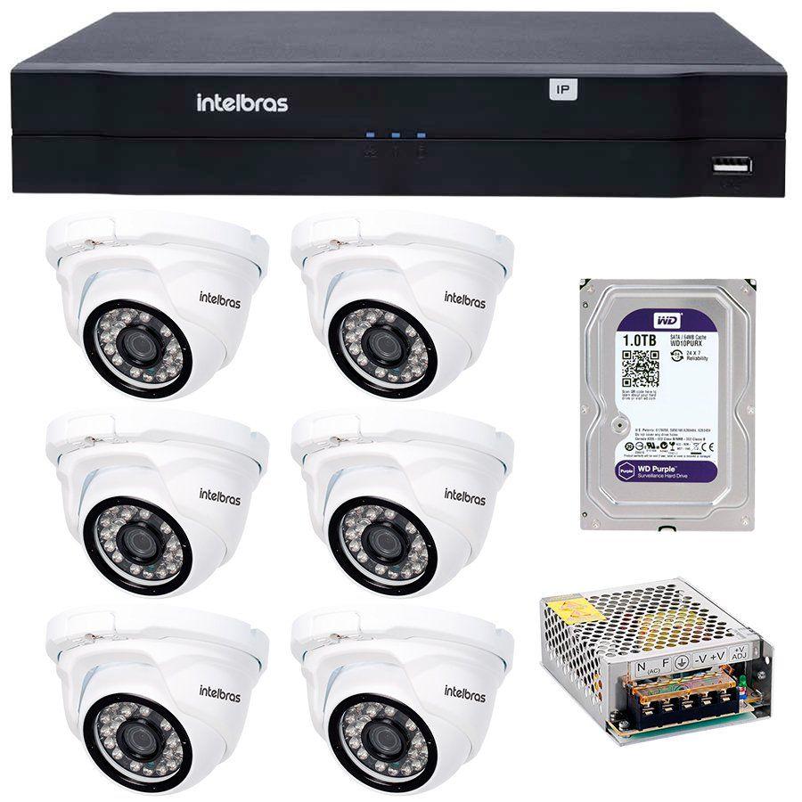 Kit 06 Câmeras de Segurança IP 1Mp HD 720p Intelbras VIP 1120 D + NVD 1108 Intelbras, NVR, HVR + HD WD Purple 1TB