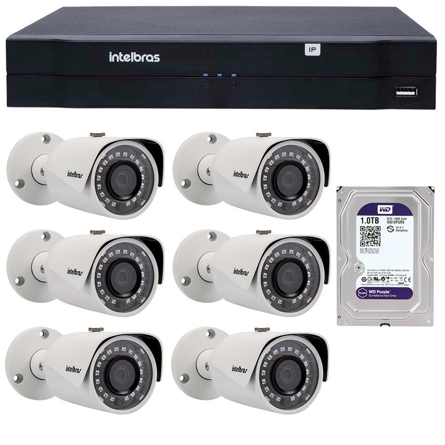 Kit 06 Câmeras de Segurança IP 1Mp HD 720p Intelbras VIP S 3020 G2 + NVD 1108 Intelbras, NVR, HVR + HD WD Purple 1TB