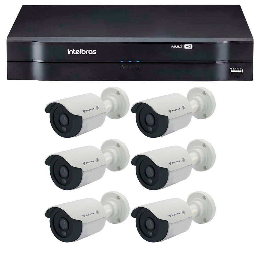 Kit 06 Câmeras de Segurança Tecvoz HD 720p CCB-128P + DVR Intelbras Multi HD + Acessórios